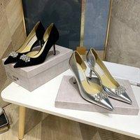 Tasarımcı Lüks Ayakkabı Bayan Yüksek Topuklu Sivri Toes Siyah Şerit Hakiki Deri Glitter Rhinestones Pompalar Parti Elbise Ayakkabı Artı Boyutu 34-42