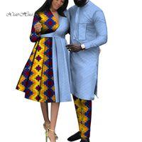 Moda Ropa africana para pareja Ropa de boda Impresiones Mujeres Vestido y hombres Trajes África Tradicional Nigeria WYQ592 Étnico