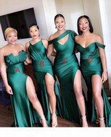 2020 elegante barato una línea de dama de honor dressess cuatro estilos de la longitud del piso del hombro con la split sexy criada de vestidos de honor vestidos formales