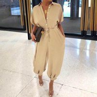 Women's Jumpsuits & Rompers Casual Loose Buttons Women 2021 Sexy V-Neck Short Sleeve Belted Harem Cargo Pants Plus Size Overalls Playsuits