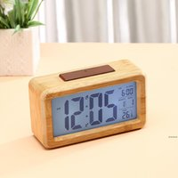 Wooden Digital Alarm Clock,Sensor Night Light With Snooze Date Temperature Clock LED Watch Table Wall Clocks DHF7115