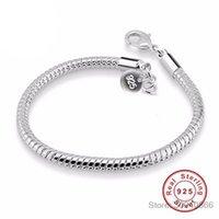 100% 925 Sterling Silber Armbänder Armreifen für Frauen Modeschmuck mit S925 Stempel 3mm Schlangenknochen Armband YB001