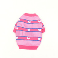 Sweet Pink Top Dog Apparel Love Pattern Warm Knitted Sweater Cute Fashion Winter Pet Puppy Cat Clothes