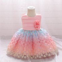 Girls Dresses 1st Birthday Dress For Baby Girl Clothes Kids Clothing Sleeveless Princess Dots Flower Lace Tutu Pettiskirt B7245