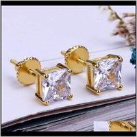 Мода 18K Gold Hiphop Cyed Out Out CZ Cubic Zircon Square Серьги 04 06 08см Подарки для мужчин Полный алмаз Серьги Шпильки рэппер LCVZI IEVB3