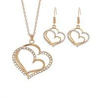 Earrings & Necklace Double Love Peach Heart-shaped Jewelry Set Wedding Dinner Dress Pendant