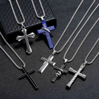 Stainless Steel Cross Pendant Necklaces Men Religion Faith Crucifix Charm Chain For Women Fashion Jewelry Gift