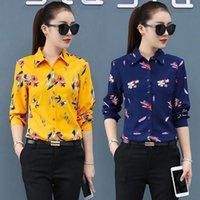 المرأة بلوزة طويلة الأكمام الربيع الصيف طباعة قميص الشيفون الأعلى blusas روبا دي موهير المرأة البلوزات القمصان
