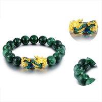 Природные зеленые бусы Onyx Bears Golden Pixiu Bracte Bractee Energy Concience для женщин Мужчины смелые богатства Feng Shui Braclets из бисера, пряди