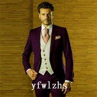 Classic One Button Handsome Groomsmen Peak Lapel Groom Tuxedos Men Suits Wedding Prom Man Blazer ( Jacket+Pants+Vest+Tie) W868
