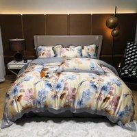 4 adet Tencel Çift Yatak Seti Bahar Ve Yaz Serisi Kingqueen Boyutu Yorgan Kapak Çarşaf Yatak Örtüsü Yastık Setleri