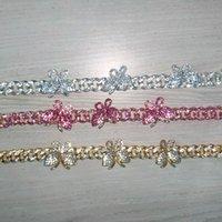 Rhinestone Butterfly Ankle Bracelet Cuban Link Chain Anklets for Women Wide Foot Bracelets Beach Jewelry J55