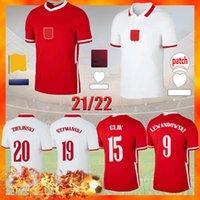 Polska Soccer Jerseys Lewandowski 2021 White Home Red Away أعلى جودة قمصان Zielinski Piatek Milik Piszczek موحدة 20/21