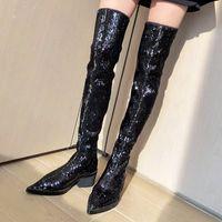 Prova Perfetto 2019 осень зима сексуальная на коленях длинные ботинки ночной клуб секвенированные заостренные носки женские ботинки Bling мода u0ku #