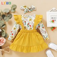 Fancy Dress Skirt Sets Spring 2021 Long Sleeve Toddler Girls Outfits Clothes Crop Clothing For Kids Suits Baby Suspender