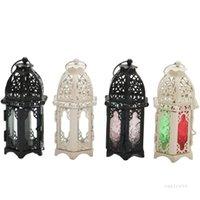 Lámpara de viento de metal de cristal marroquí europeo Lámpara de viento de metal de aromaterapia creativa Copa de hierro Adornos de decoración de hierro Topes de velas T2I52169