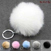 Keychain 1pcs Sier Metals Car Faux Rabbit Bonnet Bal Gesp Pom Pluizige Porte Clef Llaveros Key Hanger for Bag B3KK