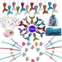 72 stücke Meerjungfrau-Partei Favor liefert Geburtstag Meerjungfrau Themen-Partys Geschenke Kit Gäste / Mädchen Die kleinen Meerjungfrau-Party-Dekorationen Sh190923