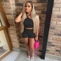 Women's Tracksuits Hirigin Sexy Knitted 2 Piece Set Women Summer Clothes Halter Tanks Off Shoulder Tube Crop Tops Biker Shorts Outfits Clubw