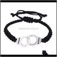 Cuff Wholesale Handknitted Handcuffs Bracelets Braided Rope Dom Adjustable Weaving Hand Bracelet Unisex Retro Punk Charm Pendant X95S3 Vnifb