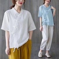 Ethnic Clothing Women Chinese Style Retro Hanfu Tops Zen Tea Cotton Linen Qipao Shirt V-neck Short Sleeve T-shirt Solid Color Loose Blouse R