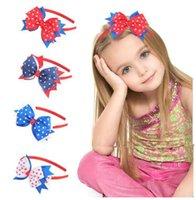 العلم الأمريكي الاستقلال يوم الطفل الفتيات كبير القوس عقال أطفال نجمة شريط الشعر العصي الطفل أغطية الرأس بوتيك اكسسوارات للشعر