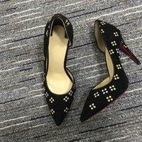 Лучшие женские туфли красные детус высокие каблуки сексуальные заостренные носки подошвы насосы поставляются с логотипом пыли сумки свадьба