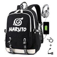 Naruto حقيبة الظهر للبنين الفتيات طالب حقيبة مدرسية مع USB شحن الطباعة Gaara Sasuke Uchiha محمول حقيبة السفر عارضة السفر 210310