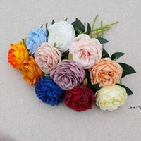 Single Stem Rose Flower 30cm in Length Artificial Silk Roses Wedding Party Home Decorative Flowers White Pink Red DAP366