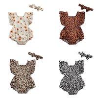 Meisjes rompertjes baby meisje kleding jurk zomer katoen print luipaard hoofdbanden 2 stks / sets pasgeboren jumpsuit bodysuits zuigeling een stuk kleding B7445