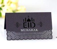 Eid Mubarak Party Table Card 100pcs lot Ramadan Paper Hollow Out Wedding Festival Seat Cards Muslim Islamic Supplies DHE5695