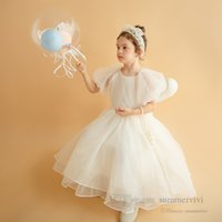 Sweet Girls puff sleeve princess dresses kids lace tulle pageant dress summer children birthday party clothing Q2862