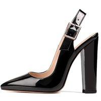 Lovirs Women's Women's Heaver Saltos 10 Cm Ponty Toe Block Block Saltos Elegante Confortável Clássico Calçados Elevados Escritório Sapatos de Casamento 210408