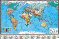 Politieke wereldkaart Muurdocument Sticker voor Baby Kind Woondecoratie op de muur van behang in Russische kaart Q0723