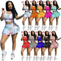 Plus Sizes Womens Sports Tracksuitss Designer Summer Sexy Crop Top Shorts Yoga Outfits Slim Vest Skirt Two Piece Set Jogging Suits 8606