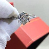 خواتم العنقودية inbeaut الكلاسيكية 6 925 الفضة جولة ممتازة قطع 2 ct d اللون تمرير الماس اختبار مويسانيت الدائري النساء مجوهرات الزفاف