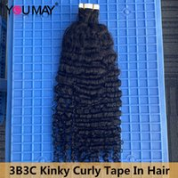 Tape In Human Hair Extensions Black Women 3B3C Kinky Curly Microlinks Weft Invisible Brazilian Knots For Salon YouMay Virgin