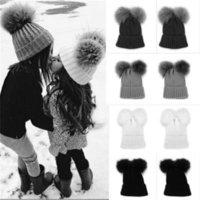 Winter Baby Warme Kleinkind Mädchen Junge Häkeln Strick Pompom Hut Kappe Mütze Schal Set