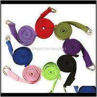 Chegada algodão misturado poliéster listras cor sólida nonslip exercício faixa de estiramento de estiramento bandas de ioga bandas com dring 3qio4 7jwoh