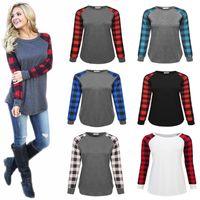 Buffalo Plaid T-shirts Xmas Plus Size Long Sleeve Tops Hoodies Christmas O Neck Shirt Letter Printed Blouse Casual Sweatshirts CGY89