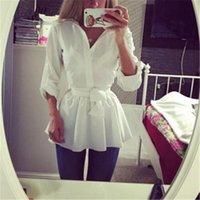Kadın 2021 Kemer Tunik Gömlek Ile Bluz Uzun Kollu Peplum Rahat Top OL Workwear Mujer Blusas Beyaz Gömlek Kadın Bluzlar