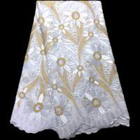 Белый + Золотой 5yards Африканская кружевная ткань Свадебная вышивка швейцарская Voile кружева африканский хлопок швейцарская кружевная ткань для платья PL12434