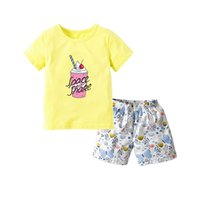 Clothing Sets Baby Girls Clothes Set, Ice Cream Print Short Sleeve O-neck T-shirt + Butterfly Pants 18M-6T