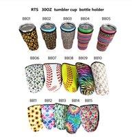 15 estilo reutilizable 30 oz topero tapa tapa bolsas con hielo taza de taza de taza de neopreno mangas aisladas de agua cubierta de la botella de agua con correa JJA254