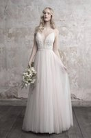 High Quality A Line Deep V Neck White Sweep Train Tulle Gowns Backless Crystal Beaded Sexy Wedding Bridal Dresses