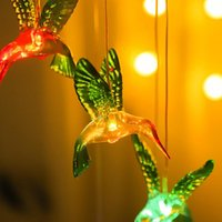 Strings LED Solar Wind Chime Lamp Outdoor Waterproof Simulation Dragonfly Hummingbird Garden Decoration Hanging