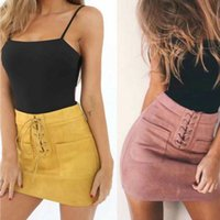 Skirts Women Leather Suede Lace Up Bandage Pockets Pencil Short Mini Skirt High Waist Brief Solid Sexy Skinning Slim Daily Party