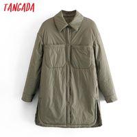 Women's Jackets Tangada 2021 Autumn Women Thin Long Parkas Coats Loose Buttons Sleeves Pocket Ladies Elegant Coat QN20