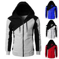 Men's Hoodies & Sweatshirts Hooded Zipper Closure Men Jacket Tracksuit Patchwork Color Slim-Fit Casual Sweatshirt Male Clothing