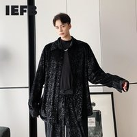 Iefb Gorgeous Velvet Embossed Long Sleeve Shirt for Men 2020 Autumn Winter New Fashion Black Loose Casual Blouse Vintage 9y4681